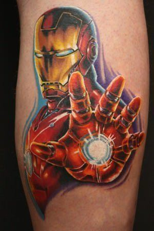 This Iron Man tattoo shows the comic book character in a power pose