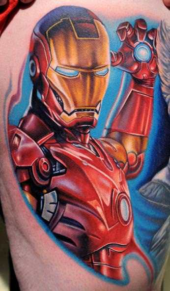 This tattoo artist has wisely added a blue background and highlights to this Iron Man tattoo