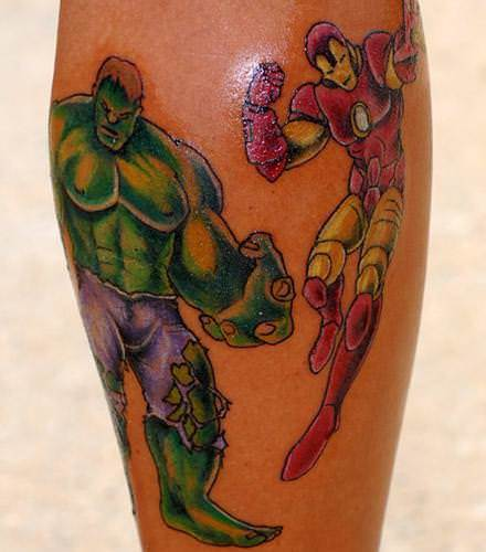 This tattoo shows two of Marvel's comic book heroes, Iron Man and the Hulk