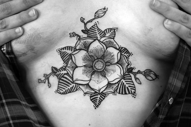 A flower mandala tattoo design by illustrator and artist David Hale