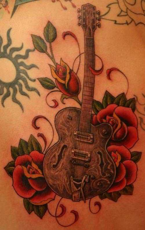 A romantic tattoo design of a classical guitar surrounded by roses