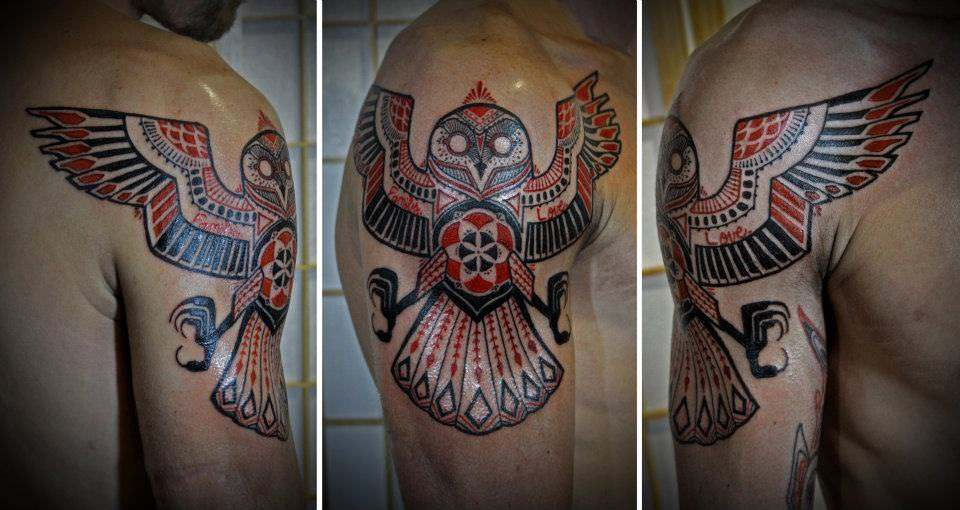 A tribal inspired tattoo design of an owl with its wings spread by David Hale