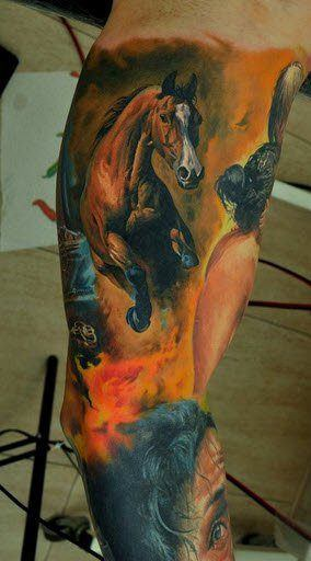 An incredibly realistic horse tattoo by Dmitriy Samohin, beautiful body art to be proud of