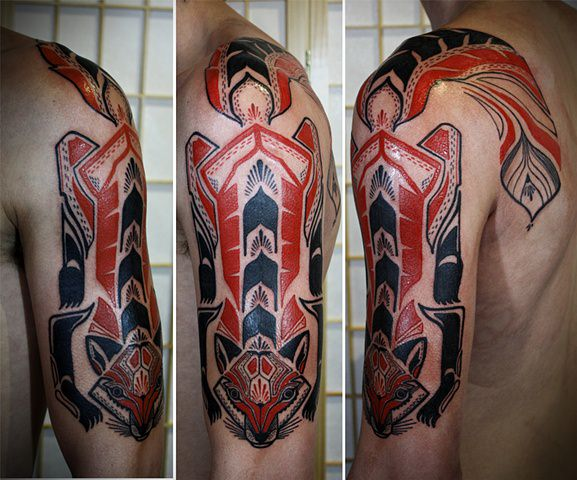 This tattoo of a red fox combines tribal designs and David Hales unique illustrative style
