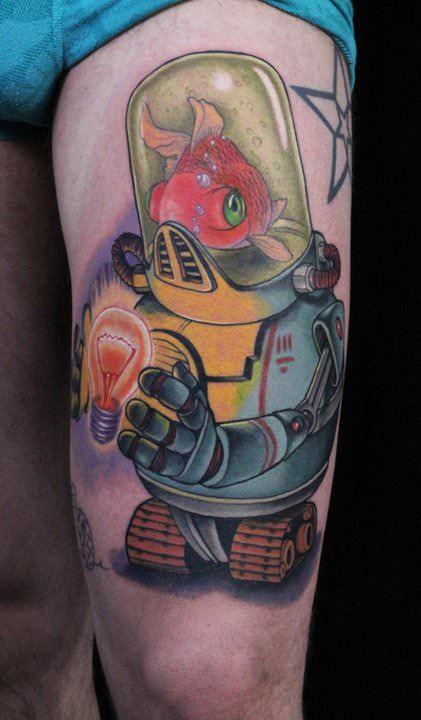 A robot with a goldfish brain holds a glowing light bulb in this cartoon style tattoo by Ed Perdomo