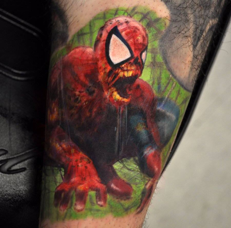 An artistic, painted style tattoo of Spider-Man from the Marvel Zombies comic book series