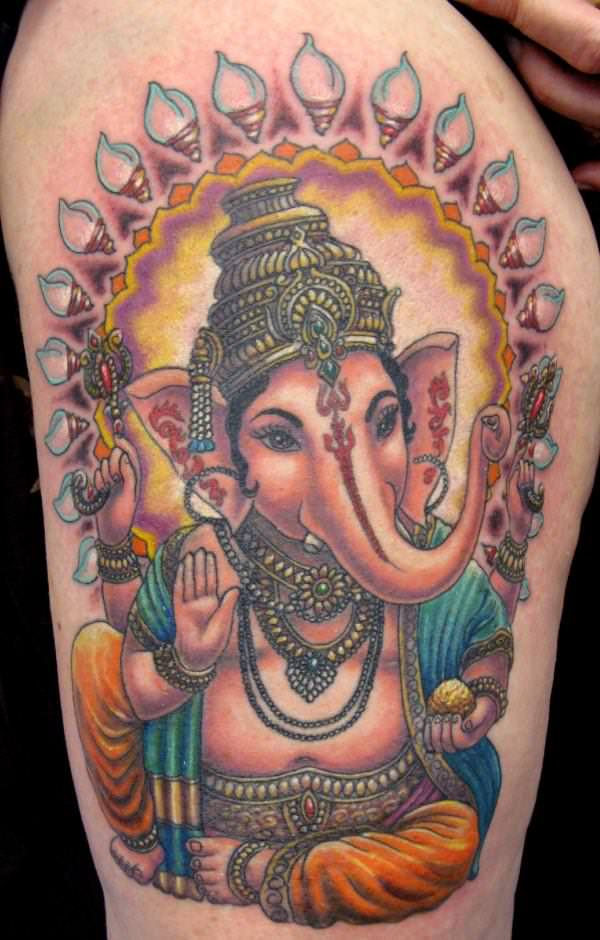 Most tattoos of Ganesh show the Hindu god with a large belly