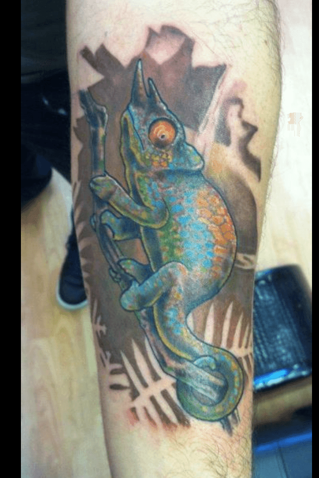 The chameleon is often chosen as a tattoo design because of its spiritual symbolism as an animal totem