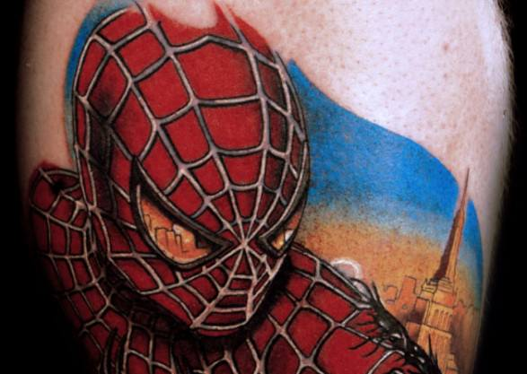 This Spider-Man tattoo shows the city he protects reflected in his eyes
