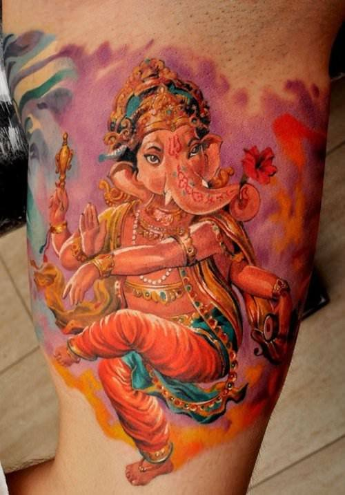 This amazing tattoo of Ganesh by Dmitriy Samohin shows the Hindu God adorned with jewelry