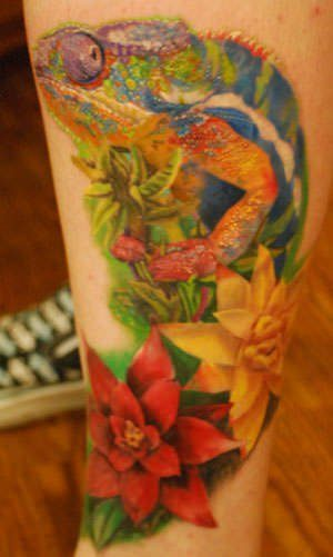 This chameleon tattoo shows the color patterns of a chameleon which allows it to camouflage itself
