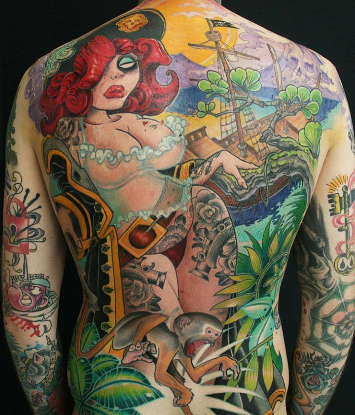 A full back tattoo by Jee Sayalero of a pin up pirate girl in a new school style