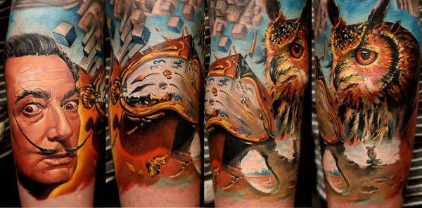 A photorealistic tattoo by Dmitriy Samohin that celebrates Salvador Dali, nature and surrealist art