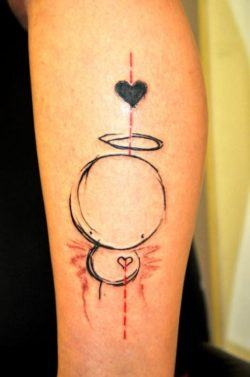 Abstract tattoo artist Musa uses the popular heart icon to add more meaning to this tattoo design of an angel character