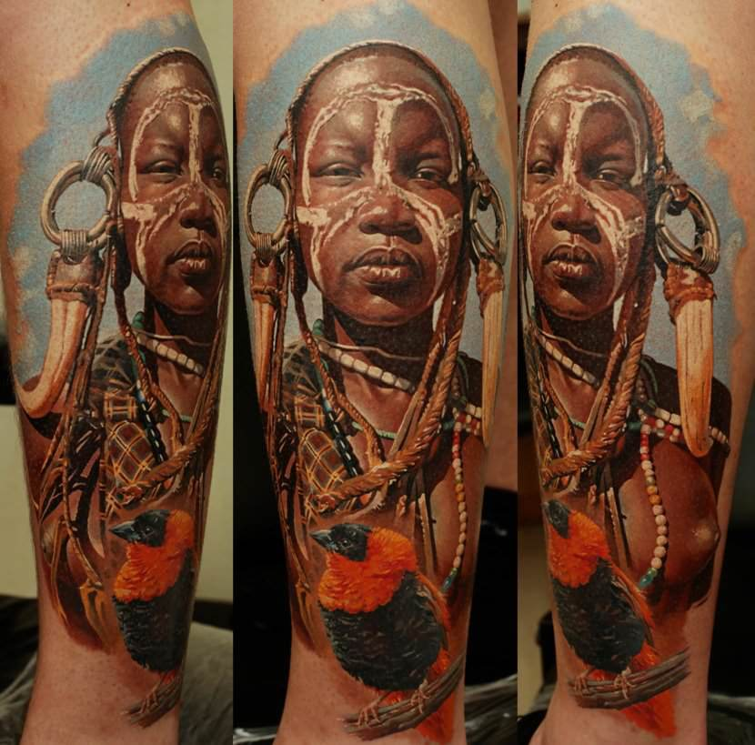 Brilliant photorealistic tattoo design by Dmitriy Samohin of a tribal African girl with a bird