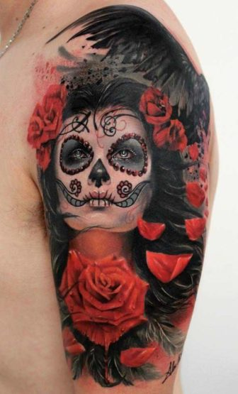 A beautiful photo realistic tattoo of rose flowers and a girl with sugar skull face paint by Alex de Pase