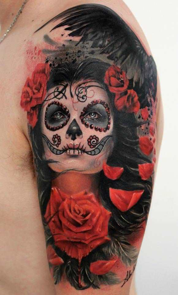 86b3debe102cb A beautiful photo realistic tattoo of rose flowers and a girl with sugar  skull face paint