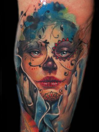 A beautiful sugar skull portrait tattoo by artist Alex de Pase