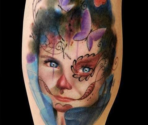 A photo realistic and artistic tattoo of a little girl wearing sugar skull face paint by Alex de Pase