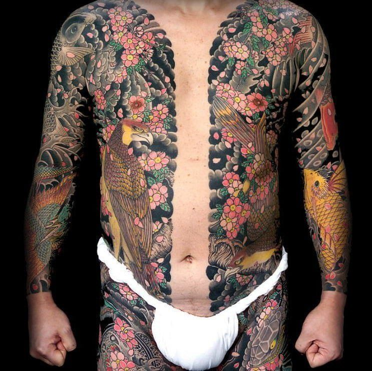 An irezumi tattoo that shows the yakuza tattoo body suit which can be hidden under clothing