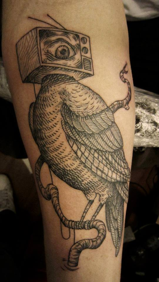 Otto D Ambra employs many traditional illustrative techniques in his tattoo designs
