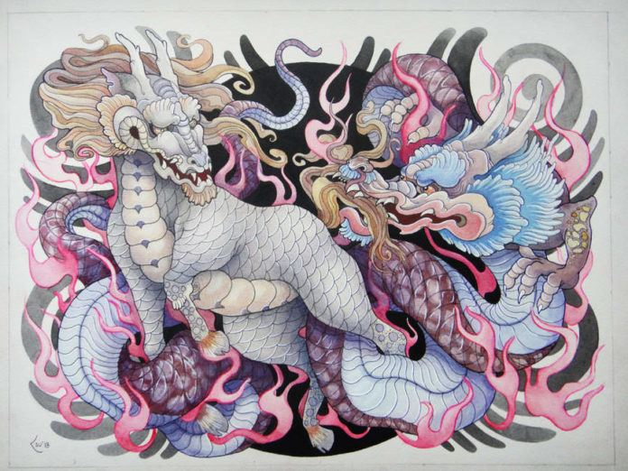 A Japanese kirin and dragon interact in this bold tattoo drawing by artist Xenija