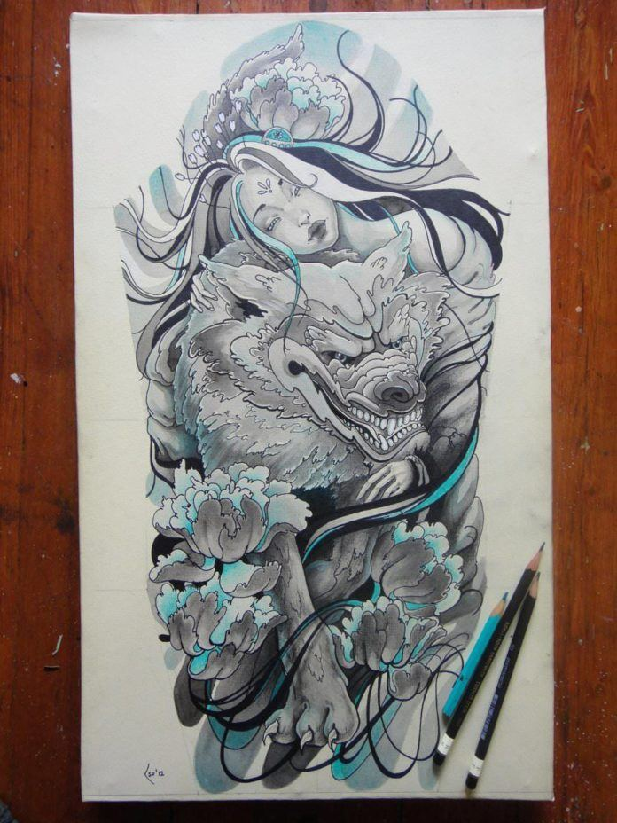 A beautiful girl holds her wolf in this fantasy tattoo sketch by Xenija