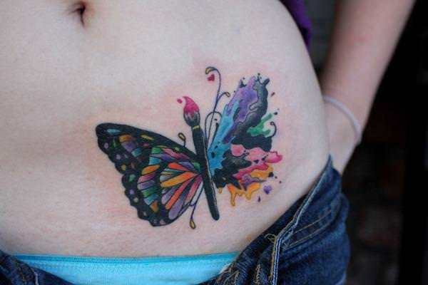 A creative butterfly tattoo design for creative people who enjoy art and color
