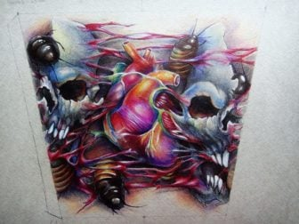 A human heart and two human skulls appear with insects in this amazing tattoo design by Xenija