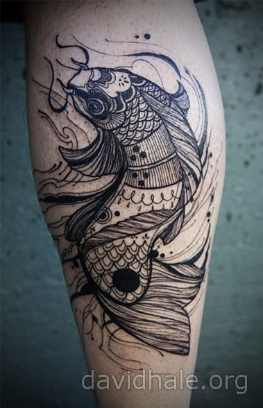 A koi fish tattoo design gets a makeover by David Hale