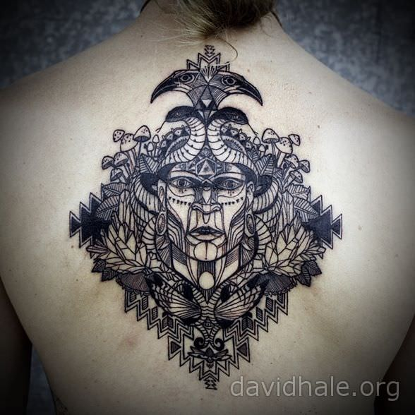 A shaman medicine man appears with totem animals in this amazing tattoo design by David Hale