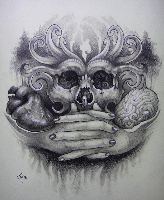 A skull, hands, heart and brain emerge from a dark forest in this tattoo drawing by Xenija