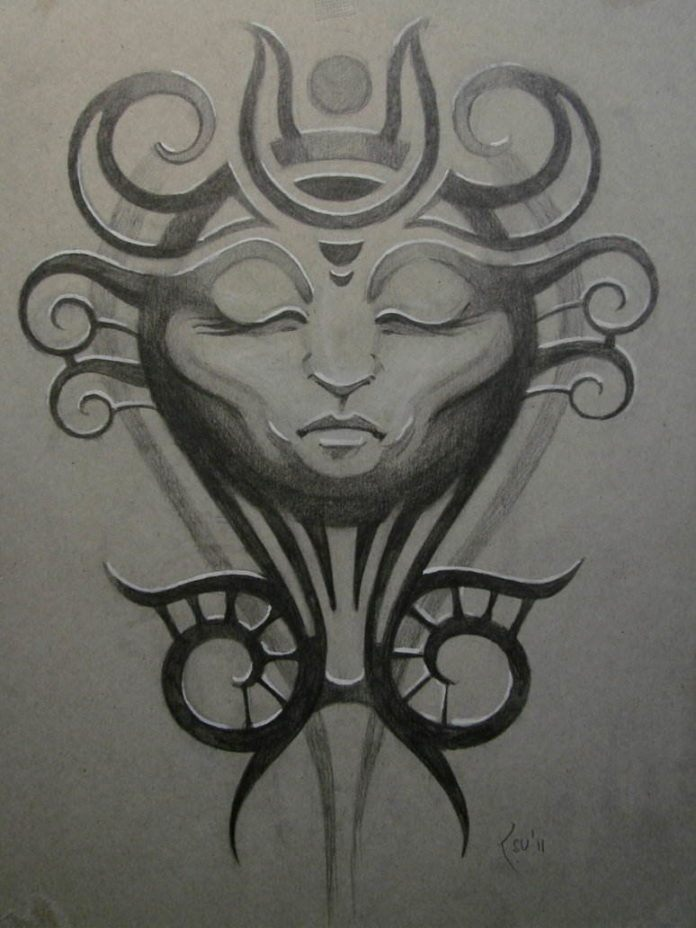 A tattoo sketch that appears both tribal and spiritual by tattoo artist Xenija