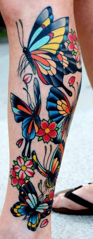 An old school tattoo style gives these butterflies a bold, colorful appeal