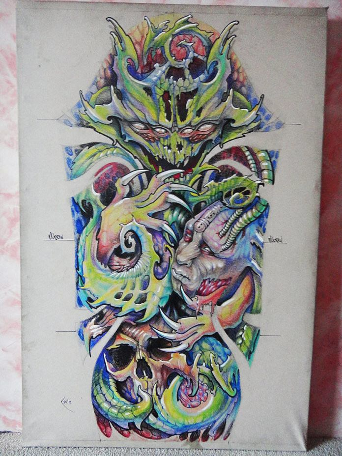 An organic alien horror tattoo sketch by designer Xenija