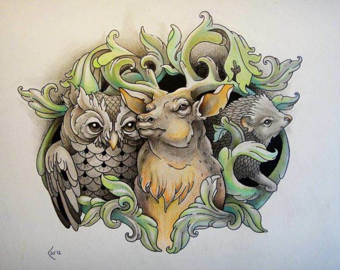 An owl, deer and a hedgehog pose with heraldry designs in this tattoo drawing by Xenija