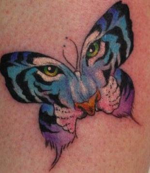 Combining a tiger and butterfly, this tattoo symbolizes the power and beauty of change