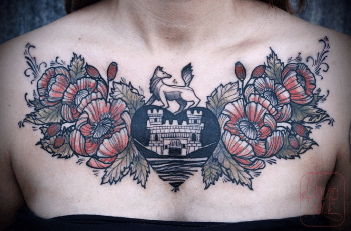 David Hale combines heraldry and popy flowers in this symbolic tattoo design