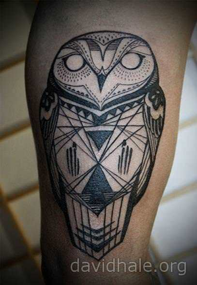 David hale creates a modern tribal style for this totem for Tribal owl tattoo