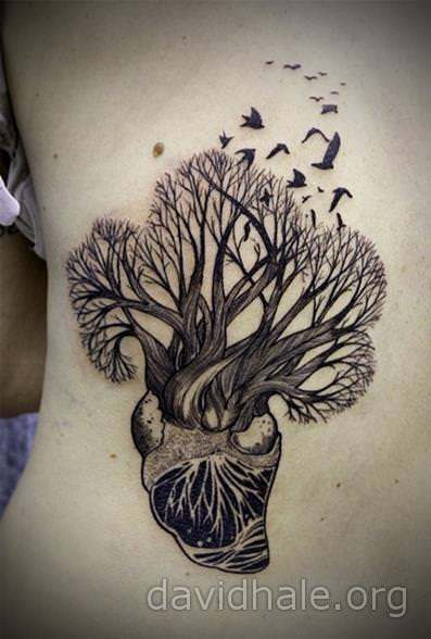David Hale grows a tree from a human heart in this illustrative tattoo designDavid Hale grows a tree from a human heart in this illustrative tattoo design