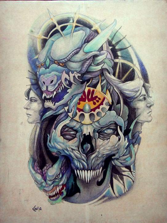 Demons, skulls and fantasy warriors converge in this tattoo drawing by Xenija