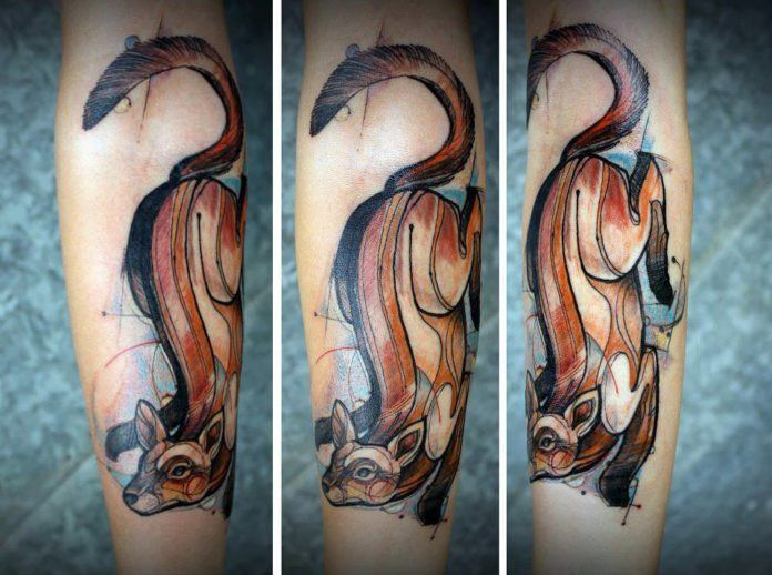 Tattoo artist david Hale combine illustration techniques and animal symbolism in this artistic tattoo