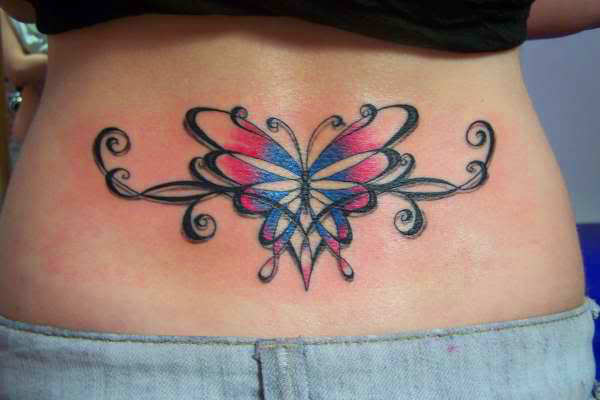 this beautiful lower back tattoo of a butterfly uses a feminine floral style ratta tattoo. Black Bedroom Furniture Sets. Home Design Ideas