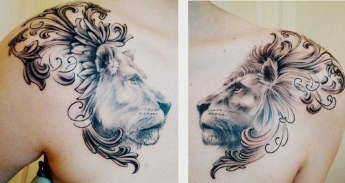 This beautiful tattoo of a lion and lioness incorporates heraldic designs to add to the symbolism of royalty