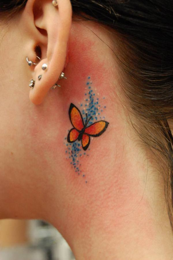 This tiny butterfly tattoo is pretty cute, hiding behind the ear