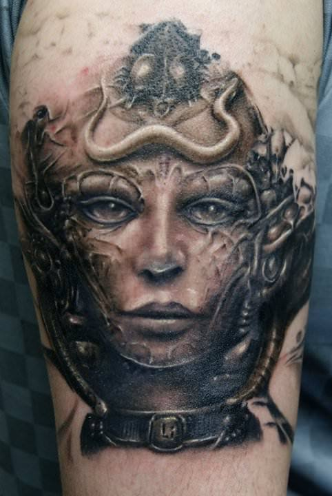 A black and white photo realistic fantasy tattoo by Robert Litcan of a beautiful fairy queen