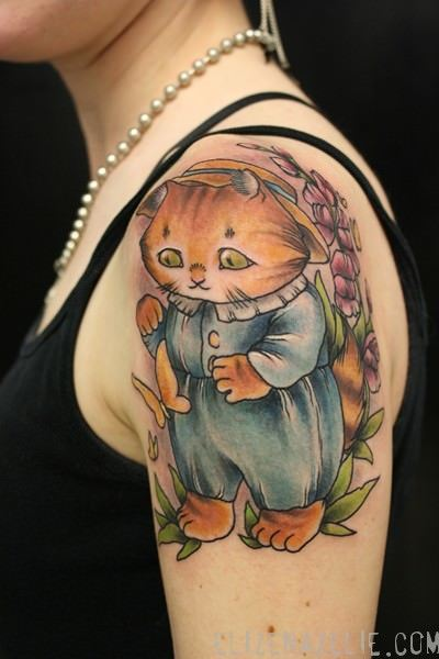 A cute tattoo design of the literary character Tom Kitten