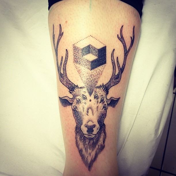 A deer with six eyes projects an image of an impossible object illusion in this dotwork tattoo by Gregorio Marangoni