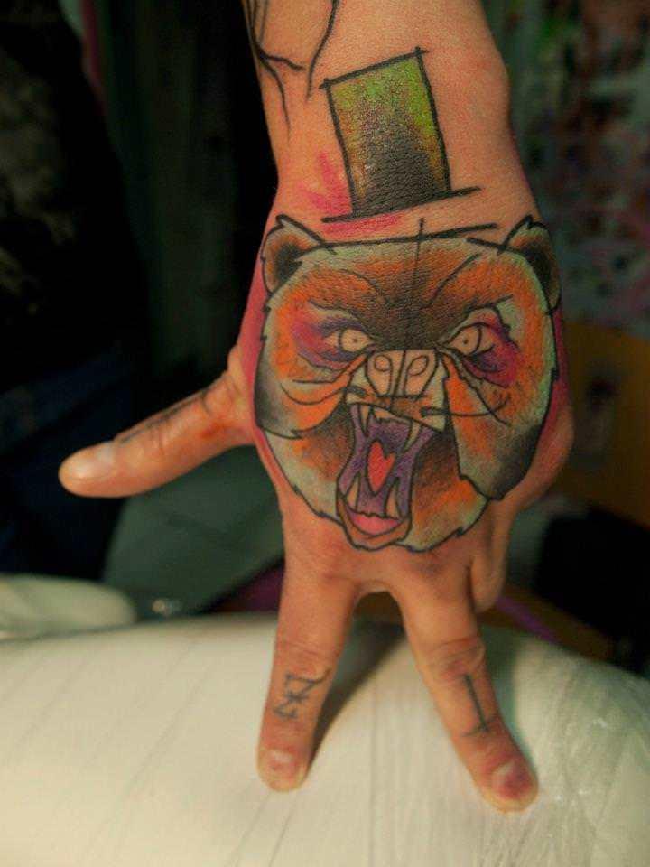 Bear watercolor tattoo - photo#22