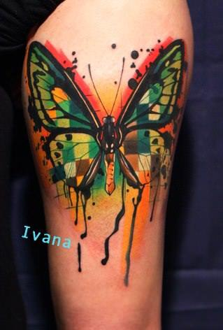 Ivana Belakova gives a classic subject a new appeal in this artistic tattoo of a butterfly